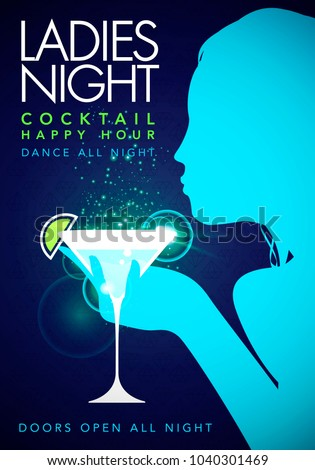 Vector illustration blue template party event happy hour ladies night flyer design with cocktail glass