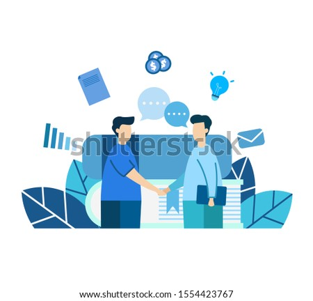 vector illustration, blue tone, means information sharing, knowledge, sharing, collaborating, teamwork, Doing business with others, Illustrations for various media
