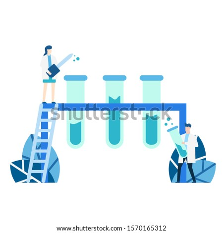 vector illustration blue tone of experiment scientist, laboratory scientist, chemical, character, cartoon, scientific research biochemistry, experimenting various experiments
