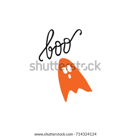 """Vector illustration """"boo"""" and ghost."""