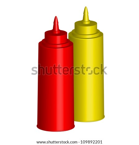 Vector illustration - Bottles of Ketchup and Mustard - stock vector