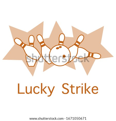Vector illustration Bowling pins and ball, stars on white background. Bowling club Center Sports theme. Games, hobbies, entertainment. Lucky Strike Design for banner, poster or print.