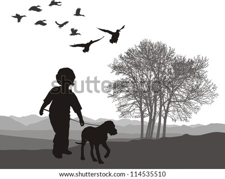 vector illustration boy and puppy in autumn nature
