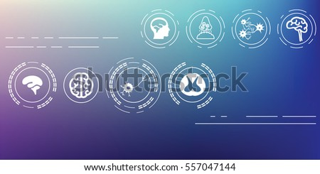 vector illustration / brain and neural system icons on blurred background / / horizontal banner
