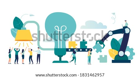 Vector illustration, brainstorming, business concept for teamwork, finding new solutions, generating and generating ideas