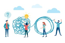 vector illustration brainstorming, psychological help concept. people experiencing problems and asking questions unravel the tangled rope, the symbol of the found solution, the search for a solution