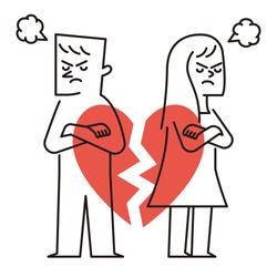 Vector illustration - break up relationship broken heart couple man woman fight