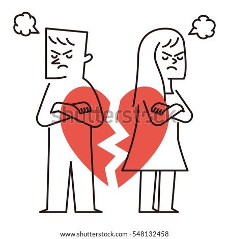 Vector illustration - break up relationship broken heart couple man woman fight