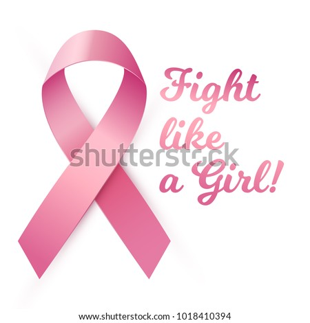Vector illustration,  breast cancer awareness symbol isolated on a white background. Fight like a Girl text.