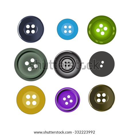 Vector illustration. Bright colors buttons on white background. Set of sewing buttons (colored sewing button collection)