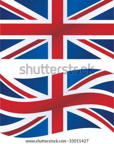 Vector illustration: British flag, includes waving version
