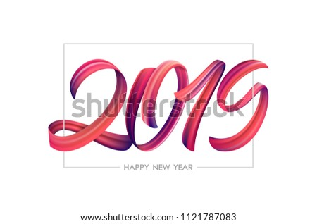 Vector illustration: Brushstroke paint lettering calligraphy of 2019 Happy New Year on white background