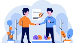 Vector Illustration Business and finance man doing contract agreement work submission of employment deal handshake flat and outline design style