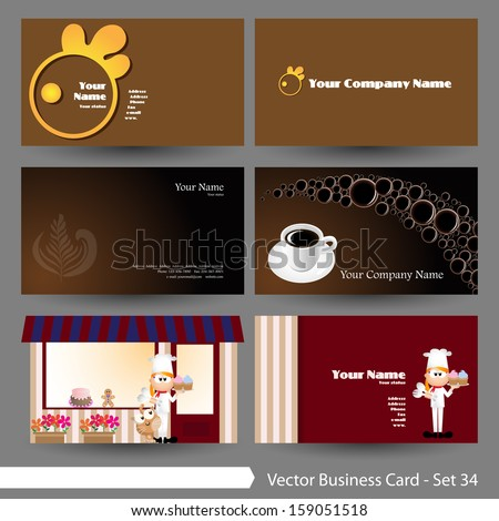 Vector illustration: Business card template set: food, restaurant & drink, coffee theme business card template (Part 34)