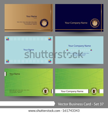 Vector illustration: Business card template set: food, restaurant & drink, coffee theme business card template (Part 37)
