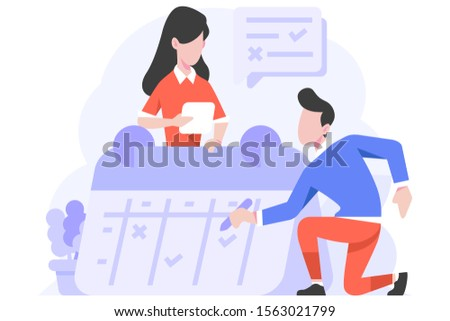 Vector Illustration Business finance man and women managing schedule management work date calendar people character flat design style