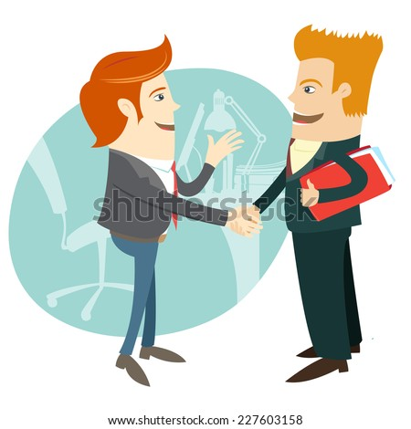 Vector illustration Business handshake and business people in front their office. Flat style