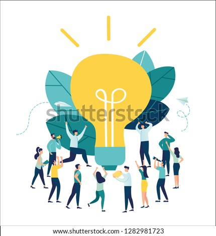 Vector illustration, business meeting and brainstorming, business concept for teamwork, search for new solutions, small people look at the big light bulb in search of ideas-vector