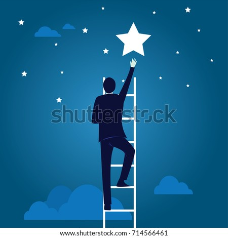 Vector illustration. Business target concept. Businessman climbing ladder to reach star of success in the sky