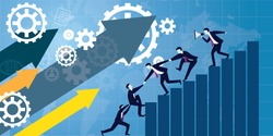 Vector illustration. Business teamwork concept. Icons words typography and symbol of teamwork leadership effort hard work team strategy