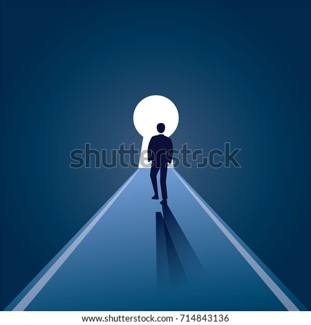 Vector illustration. Business vision concept. Businessman walking forward to opened door of chance. Key hole, path. Future, direction development, goal, success