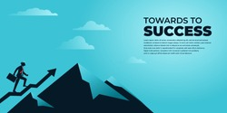 vector illustration businessman character climbing up to the top of mountain towards the success
