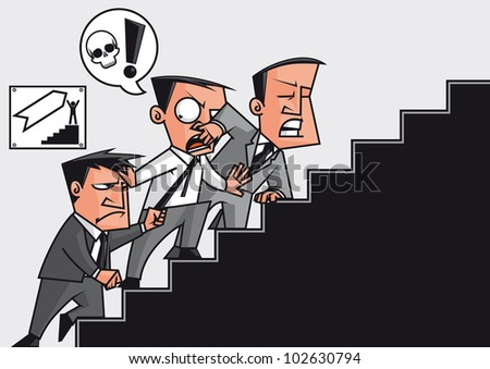 Vector illustration Businessmen fighting for go up in the success stairway