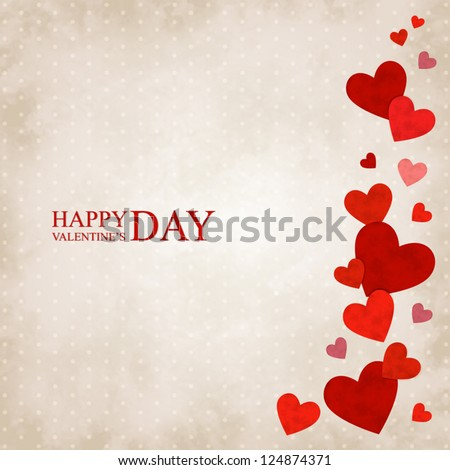 Vector illustration by Valentine's Day with red hearts on a vintage background
