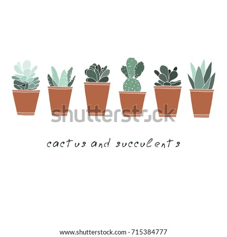 Vector illustration. Cacti and succulents. Element of card design.