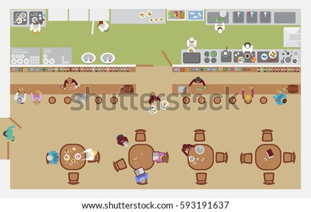 Vector illustration. Cafe top view. The restaurant hall, bar, kitchen, tables, visitors, waiters, cooks. (view from above)
