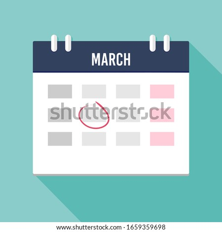 Vector illustration. Calendar icon with mark. Planning. Time management.