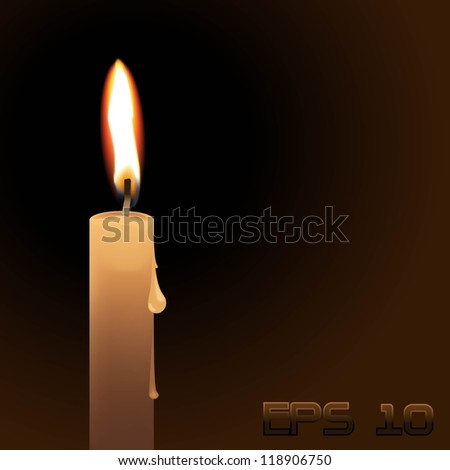 Vector illustration candle on black background