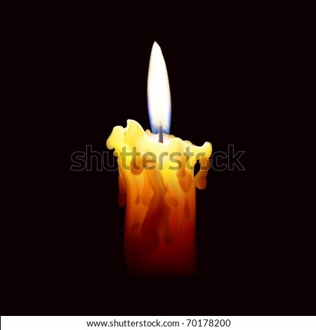 Vector illustration. Candle with fire on black background. - stock vector