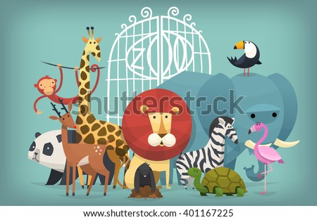 Vector illustration card with animals standing near gates inviting to visit a Zoo