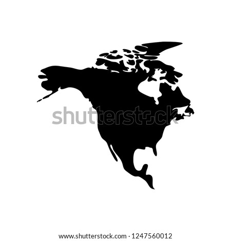 Vector illustration card with black silhouette of North America. White background