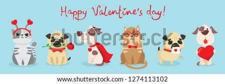 Vector illustration card with cute cartoon little Valentine cats and dogs in love and funny greeting text Happy Valentine's Day