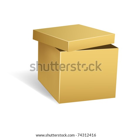 Vector illustration. Cardboard box with opened lid