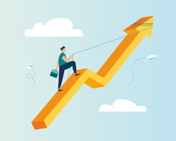 Vector illustration, career rise to success, flat color icons, businessman fussing over the rope flies up an arrow, business analysis-vector