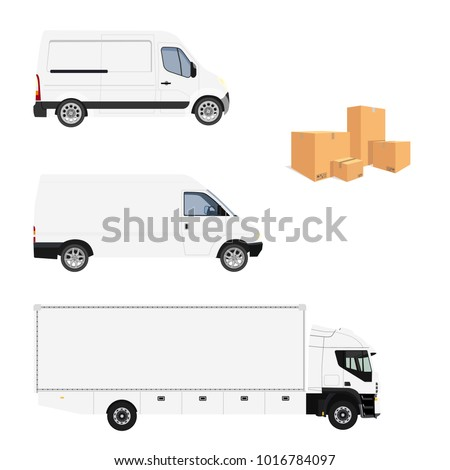 Vector illustration cargo truck, two minivan and  pile of cardboard boxes. Truck with white container. Delivery transport set, collection. Delivery service icon. Delivery van