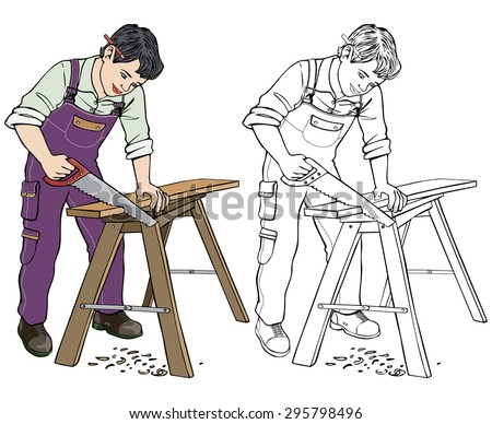 Vector illustration, carpenter, coloring drawing, card concept, white background.
