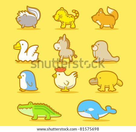 Vector illustration, cartoon animals ,cute doodle