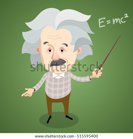Vector illustration - Cartoon caricature portrait of Albert Einstein