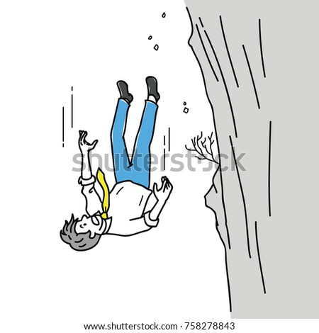 Vector illustration cartoon character of scared businessman, office worker, falling down from cliff or high mountain. Outline, thin line art, linear, doodle, hand drawn sketch design.