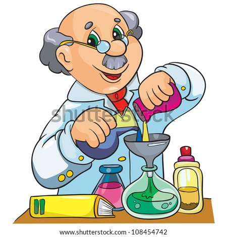 Vector illustration cartoon character scientist in laboratory on