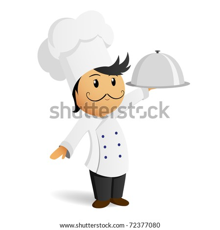 Vector illustration. Cartoon chef in white hat with dish