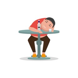 Vector illustration cartoon drunken man sleeping on a table. Isolated white background. Concept male alcoholism. Flat style. Sleeping drunk human. Icon man alcoholic. Heavy alcohol intoxication.