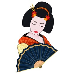 vector illustration cartoon graphic icon of japanese geisha beauty