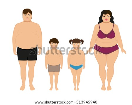 Vector illustration cartoon happy fat overweight family. Parents and their children in underwear, undressed. Woman, man, boy and girl obese. Picture, drawing isolated on white background. Fatty body.
