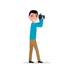 Vector illustration cartoon man with a photo camera. Isolated on white background. Photographer holding a photo device. Flat style.
