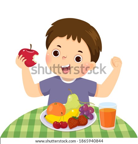 Vector illustration cartoon of a little boy eating red apple and showing his strength.